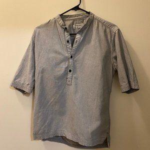 American Apparel Gray Collarless Chambray Shirt